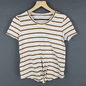 Madewell Pink Brown White Tie Front Tee Sz XS